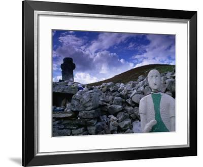 Effigy, Cairn and Stone Cross at 6th Century St. Colmba's Chapel, Glencolumbcille, Ireland-Gareth McCormack-Framed Photographic Print