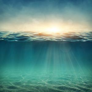 Abstract Underwater Background with Sunbeams by egal