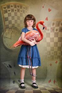 Alice Trying to Play Croquet with Flamingo by egal