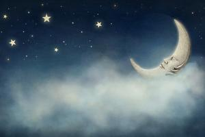 Night Time with Stars and Moon by egal