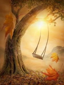 Old Swing Hanging from a Large Tree by egal