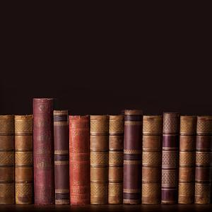 Old Vintage Books Standing in a Row by egal