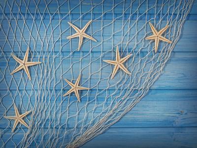 Seastars on the Fishing Net on a Blue Background