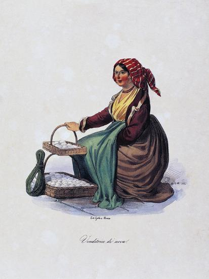 Egg Seller, by Gaetano Dura (1805-1878), Lithograph, Italy, 19th Century--Giclee Print