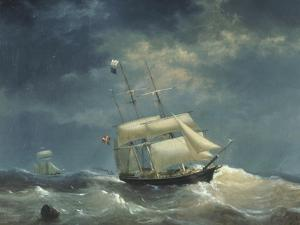 Sailing Ship at Sea by Egidius Linnig