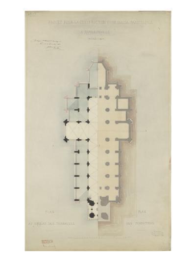 Eglise paroissiale à Napoléonville (Pontivy, Morbihan) : plan au niveau des terrasses, plan des-Marcellin Varcollier-Giclee Print