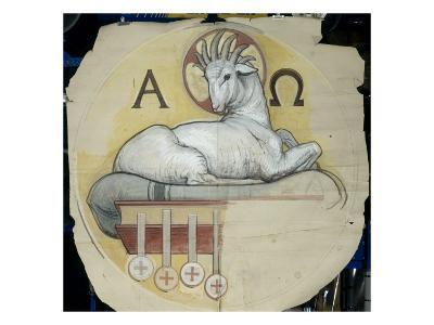 Eglise Saint-François-Xavier (Paris) : coupole du transept : agneau entre l'alpha et l'oméga.-Charles Lameire-Giclee Print