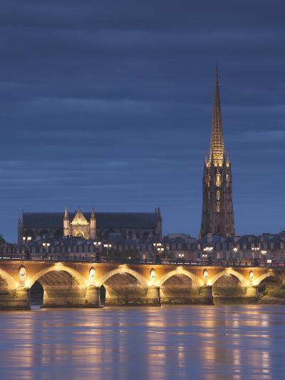 Eglise St-Michel, Garonne River, Pont De Pierre Bridge, Bordeaux, Aquitaine Region, France-Walter Bibikow-Photographic Print