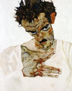 Autoportrait a la Tete Pechee, c.1912 by Egon Schiele