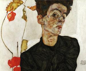 Autoportrait aux Alkekenges, c.1912 by Egon Schiele