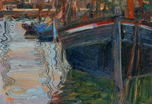 Boats Mirrored in the Water, 1908 by Egon Schiele