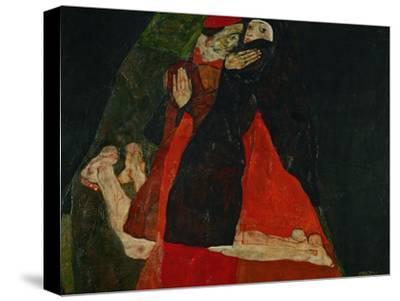 EGON SCHIELE AUSTRIAN NOUVEAU KNEELING GIRL RESTING ON BOTH ELBO GALLERY WRAP