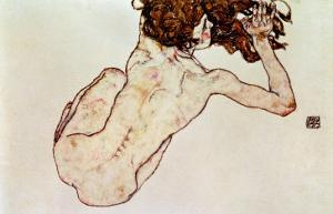 Crouching Nude, Back View, 1917 by Egon Schiele