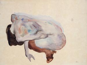 Crouching Nude in Shoes and Black Stockings, Back View, 1912 by Egon Schiele