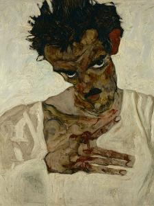 Egon Schiele, Self-Portrait with Bent Head, Study for Eremiten (Hermits) by Egon Schiele