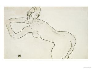 Female Nude Kneeling and Bending Forward to the Left, 1918 by Egon Schiele