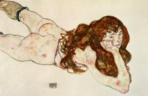 Female Nude on Her Stomach, 1917 by Egon Schiele