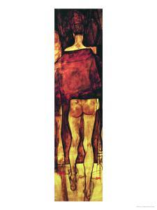 Female Nude, Rear View with Shawl, Fragment by Egon Schiele