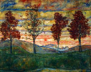 Four Trees, 1917 by Egon Schiele