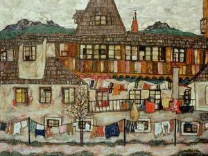 House with Drying Laundry, 1917 by Egon Schiele