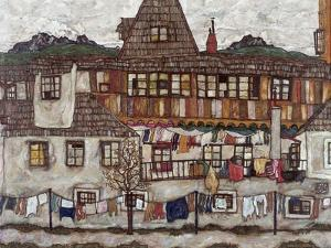 Houses with Clothes Drying, 1917 by Egon Schiele