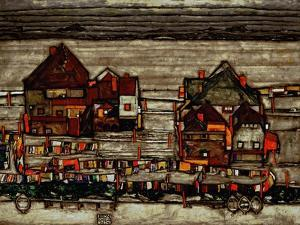 Houses with Laundry, Also Called Suburb II, 1914 by Egon Schiele