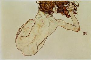 Kauernder Rueckenakt - Crouching nude,back view,1917 by Egon Schiele