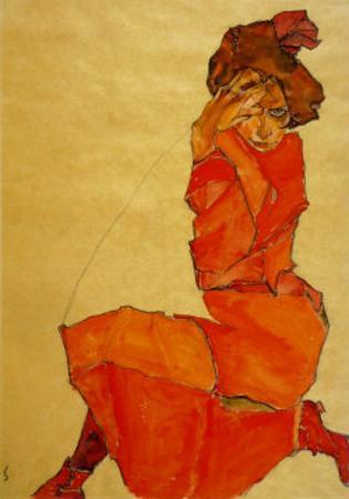 Kneeling Female in Orange Dress, c.1910