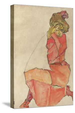 Kneeling Female in Orange-Red Dress, 1910