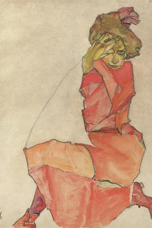 Kneeling Female in Orange-Red Dress, 1910