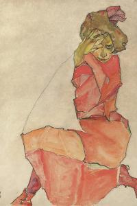 Kneeling Female in Orange-Red Dress, 1910 by Egon Schiele