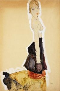 Kneeling Girl with Spanish Skirt; Knieendes Madchenmit Spanischem Rock, 1911 by Egon Schiele