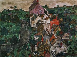 Landscape at Krumau, 1910-16 by Egon Schiele