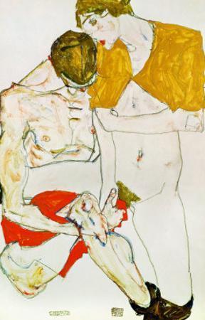 Lovers, 1913 by Egon Schiele