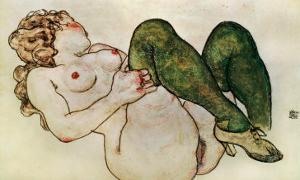 Nude with Green Stockings, 1918 by Egon Schiele