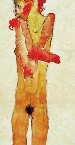 Nude Woman Iwith Folded Arms, 1910 by Egon Schiele