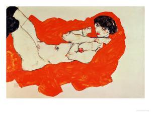 Reclining Female Nude on Red Drape, 1914 by Egon Schiele