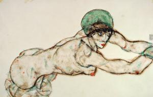 Reclining Female Nude with Green Cap, Leaning to the Right, 1914 by Egon Schiele