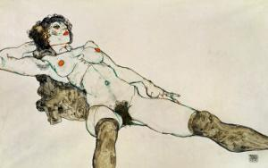 Reclining Female Nude with Legs Spread, 1914 by Egon Schiele