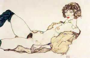 Reclining Nude in Green Stockings, 1914 by Egon Schiele