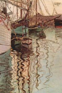 Sailboats In Wollenbewegten Water by Egon Schiele