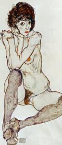 Seated Female Nude, Elbows Resting on Right Knee, 1914 by Egon Schiele