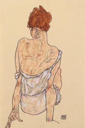 Seated Woman in Underwear, Rear View, 1917 by Egon Schiele