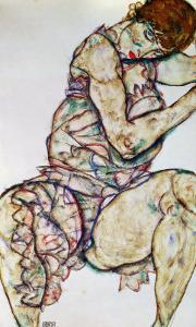 Seated Woman with Left Hand in Hair, 1914 by Egon Schiele