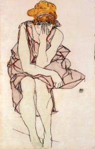 Seated Young Lady by Egon Schiele