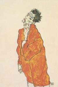 Self-Portrait in Orange Jacket, 1913 by Egon Schiele