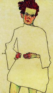 Selfportrait with Shirt, 1910 by Egon Schiele