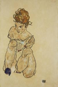 Sitting Girl in Underwear, 1917 by Egon Schiele
