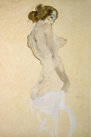 Standing Female Nude with White Shirt, 1912 by Egon Schiele