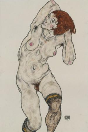 Standing Nude in Black Stockings, 1917 by Egon Schiele